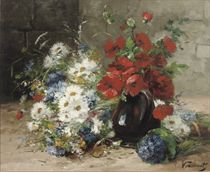 A summer-bouquet with poppies and daisies