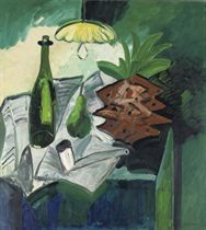 A Still Life with a Pineapple, a Bottle, a Pear and a Pipe on a Table