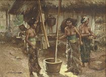 Three Women Pounding the Padi