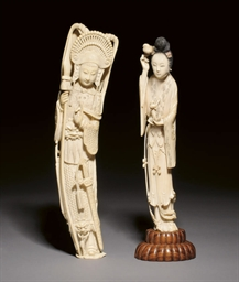 TWO IVORY FIGURES, 19TH CENTUR