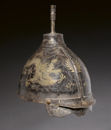 AN INLAID IRON HELMET, EARLY 1