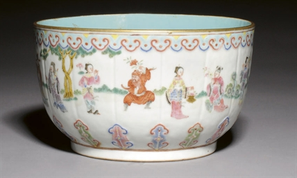A FAMILLE ROSE FLUTED BOWL, EA