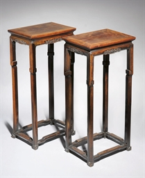 A PAIR OF ROSEWOOD STANDS, 19T