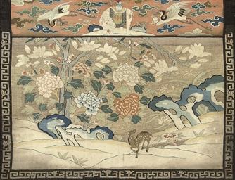 A SILK KESI 'DEER' PANEL, 18TH