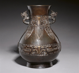 A BRONZE INLAID HU VASE, 18TH