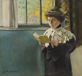 Femme lisant à la fenêtre, um