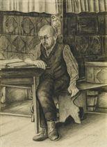 Vater beim Lesen auf der Ofenbank, 1917