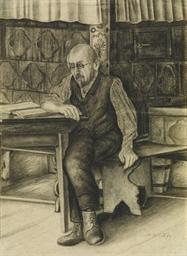 Vater beim Lesen auf der Ofenb