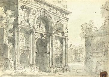 A triumphal arch (recto); A kn