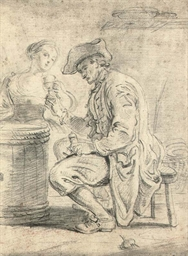A man in a tavern, accompanied