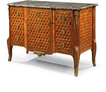 A LATE LOUIS XV KINGWOOD, TULIPWOOD, AMARANTH AND PARQUETRY COMMODE
