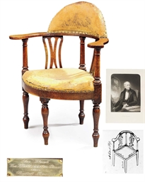 A REGENCY OAK CORNER ARMCHAIR