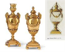 A PAIR OF GEORGE III GILT-COPPER 'GOAT'S HEAD' CANDLE-VASES