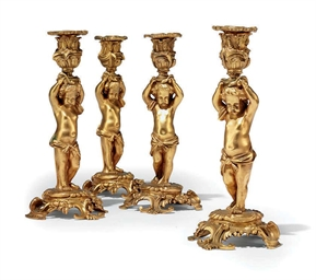 A SET OF FOUR FRENCH ORMOLU CA