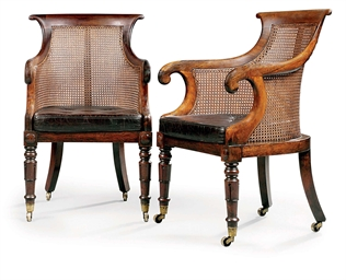A PAIR OF REGENCY ROSEWOOD BER