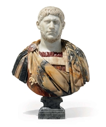 A POLYCHROME MARBLE BUST OF A