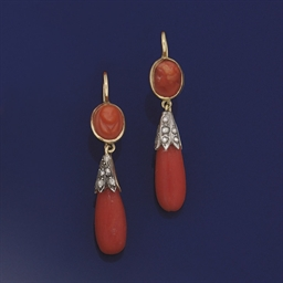 A pair of 19th century coral a