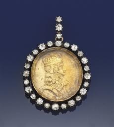 An antique diamond set medalli