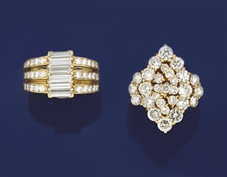 A diamond cluster ring and a d
