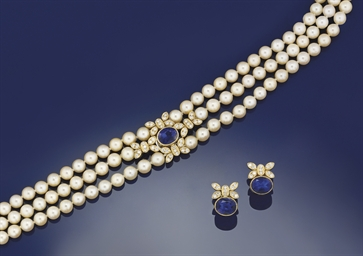 A cultured pearl, iolite and d
