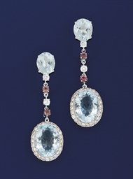 A pair of aquamarine, diamond