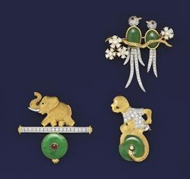 Three jadeite jade, diamond an