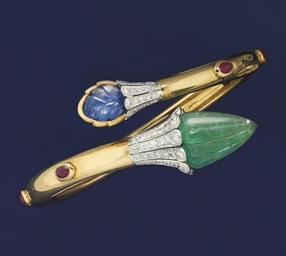 A diamond and gem bangle