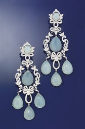 A PAIR OF DIAMOND AND BLUE CHA