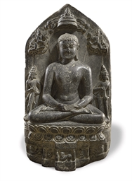 A black stone stele of Mahavir