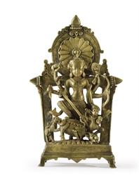 A bronze figure of Durga