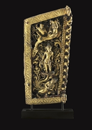 A Gilt Repousse Panel with Ava