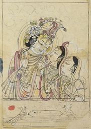 A drawing of Krishna with two