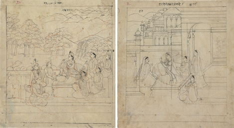 Two drawings of a ragini and a