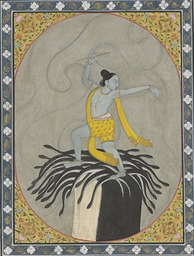 A painting of Krishna dancing