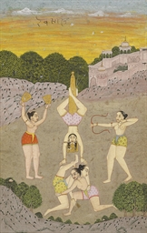 A painting of female acrobats