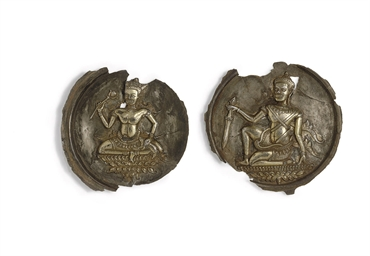 Two rare silver repousse dishe