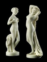 A PAIR OF FRENCH MARBLE FIGURES ENTITLED 'L'AUBE' AND 'LA CEINTURE DOREE'