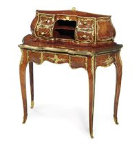 A FRENCH ORMOLU-MOUNTED KINGWOOD AND SATINE PARQUETRY BUREAU DE DAME