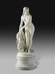 A FRENCH MARBLE FIGURE OF A BA