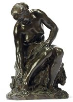 A FRENCH BRONZE STUDY ENTITLED 'FEMME NUE S'ESSUYANT LE PIED' (NAKED WOMAN DRYING HER FOOT)
