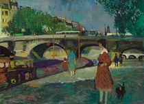 Eugénie et le chien Rigó devant les péniches du Pont Neuf