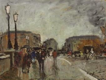Promeneurs sous la pluie au Po