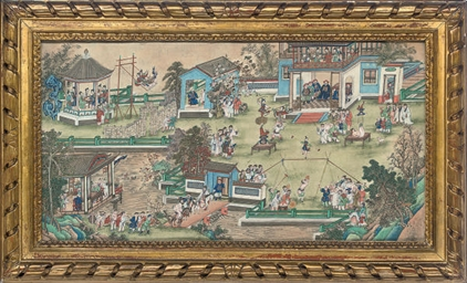 A CHINESE FRAMED SECTION OF AN