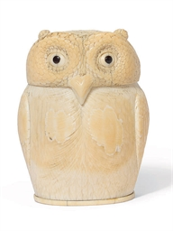 A JAPANESE IVORY OWL-SHAPED KO