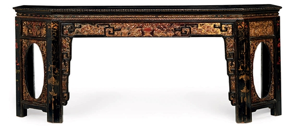 A LARGE CHINESE CARVED AND LAC