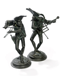 A PAIR OF FRENCH SPELTER NOVEL