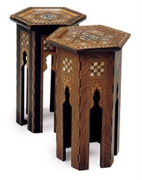 TWO MIDDLE EASTERN MARQUETRY A