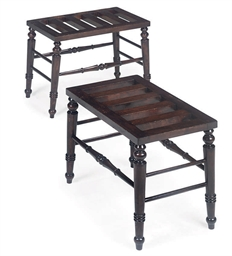 A PAIR OF WALNUT LUGGAGE STAND