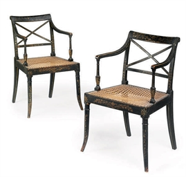 A PAIR OF REGENCY BLACK PAINTE