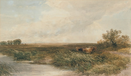 Cows grazing by a stream